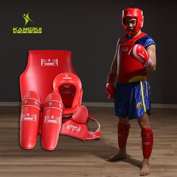 4pc competition MMA Guard suite full set kickboxing protectors sparing fight Muay thai chest shin groin guard Boxing Helmet male