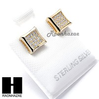 Iced Out Sterling Silver .925 Lab Diamond 7mm Square Push Back Earring SE015G