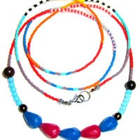 Tribal Inspired Colorful Long Seed Bead Necklace - Long Beaded African Necklace -  Layering Necklace - Hippie Necklace - Gem Stone Necklace