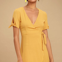 My Philosophy Golden Yellow Wrap Dress