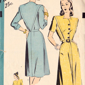 1940s Misses Dress Vintage Sewing Pattern, Hollywood 1792 bust 30""