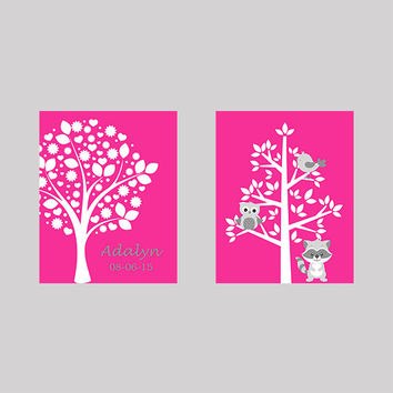Tree on Pink with Name Birth Date Tree with Animals CUSTOMIZE YOUR COLORS 8x10 Prints Set of 2, nursery decor nursery print art baby decor