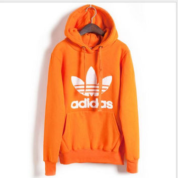 "Fashion ""Adidas"" Print Hooded Pullover Tops Sweater Sweatshirts Orange"