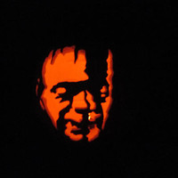 "Carved Pumpkin Jack O Lantern Frankenstein Halloween Pumpkin 10"" Carved Foam Artificial Faux w Flicker Tea Light Haunted House Party Decor"