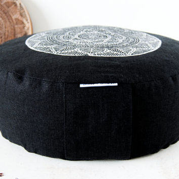 Meditation cushion, organic linen meditation cushion, zafu yoga, mandala, yoga products, round floor cushion, zafu buckwheat, zafu