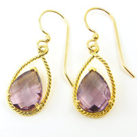 Purple Drop Earrings, Amethyst Purple Gold Faceted Stone Teardrop Dangle Earrings