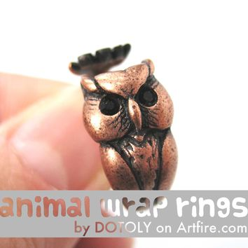 Owl Bird Animal Wrap Around Ring in Copper - Sizes 4 to 8.5 Available