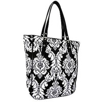 Quilted Damask Tote Bag Shoulder Purse (Black)