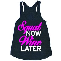 She Squats Clothing Squat Now Wine Later Triblend Workout Tank