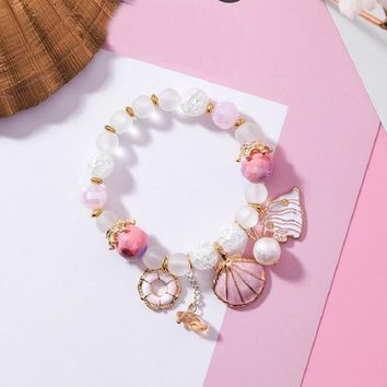 Bohemian Crystal Beads Bracelets For Women Sweet Shell Sea Style Charm Bracelet New Fashion Jewelry Spring Summer
