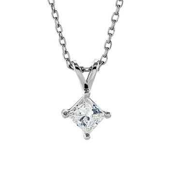 1/4 Ct Princess Diamond Solitaire Necklace in 14k White Gold, 18 Inch
