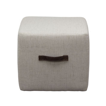 Ritz Cube Ottoman in Sand Faux Linen with Designer Handle by Diamond Sofa