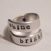 Shine Bright Aluminum Twist Ring Hand Stamped Affirmation Ring
