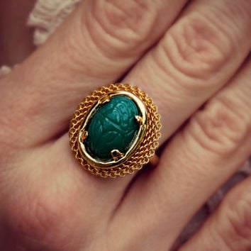 jade green scarab ring, egyptian ring, gold scarab ring, turquoise and gold ring, egyptian jewelry