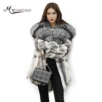 M.Y.FANSTY Winter Imported Mink Fur Coat Long Gradient Fashion Mink Coat Female With Fox Fur Hood Medium Loss Mink Real Fur Coat