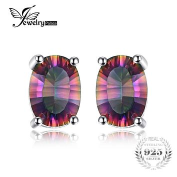 Brand New Set 3.6ct Genuine Rainbow Fire Mystic Topaz Classics Women Earring Stud Oval Concave Cut Solid 925 Sterling Silver