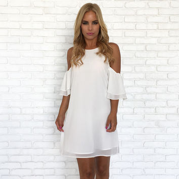Blitz Double Bell Sleeve Dress In White