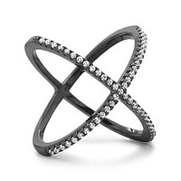 Black Cobalt Plated Sterling Silver Criss Cross 'X' Ring