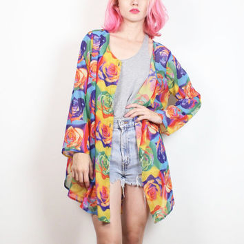 Vintage 1990s SHEER Rainbow Floral Rose Pop Art Print Oversized Blouse Shirt Top 90s Kimono Duster Jacket Rob Long Sleeve Top XL Extra Large