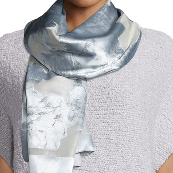Floral-Print Fil-Coupe Scarf, Silver Multi, Size: ONE SIZE, SILVER MULTI - Lafayette 148 New York