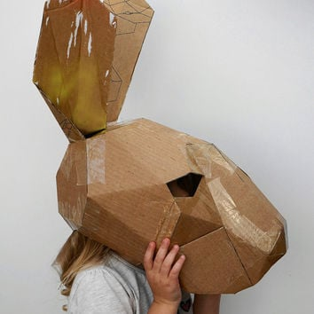 Make your own hare mask from recycled card