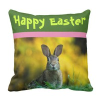 Custom Outdoors Happy Easter Throw Pillow