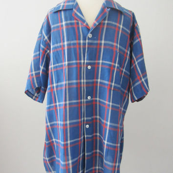 60s Plaid Blue Loop Top Shirt, Men's M // Vintage Straight Bottom Short Sleeve Shirt