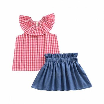 Baby Girl Child Suit Summer Lotus Leaf Collar Plaid Sleeveless T Shirt + Lace Denim Skirt Suit Red/3T