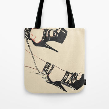 Ankle chains and high heels - best girls jewelry, submissive slim woman cuffed in fetish way, slave Tote Bag by Casemiro Arts - Peter Reiss