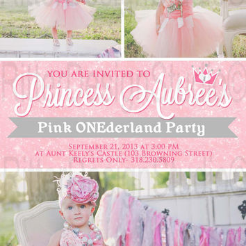 Princess Onederland Birthday Invitation - Printable