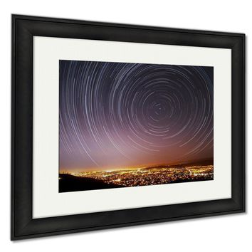 Framed Prints San Jose Star Trails Wall Art Decor Giclee Photo Print In Black Wood Frame, Soft White Matte, Ready to hang 16x20 art