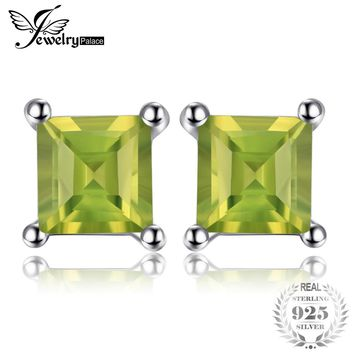Square 0.7ct Natural Peridot 925 Sterling Silver Stud Earrings Fine Jewelry