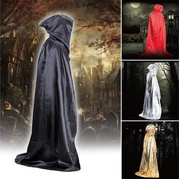 Emei Vampire Hooded Cloak Wicca Robe Medieval Witchcraft Cape Halloween Costumes Dress Black [9305822151]