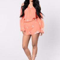 Making Me Feel Romper - Coral