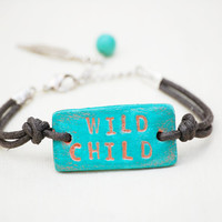 WILD CHILD turquoise bracelet - engraved inspirational word jewelry - uk seller
