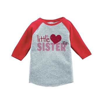 Custom Party Shop Girl's Little Sister Happy Valentine's Day Red Raglan