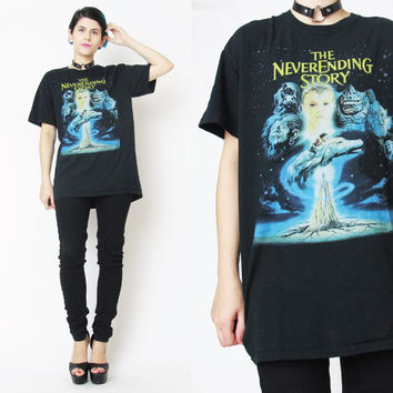 The Neverending Story Falcor Vintage Nerd Fantasy Tshirt Unisex Screen Printed Graphic T Shirt Black Cotton Tee Shirt 1980s Movies Shirt (M)