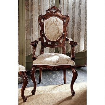 French Rococo Armchair Handcarved Wood Ivory Gold Jacquard Upholstery 46.5H