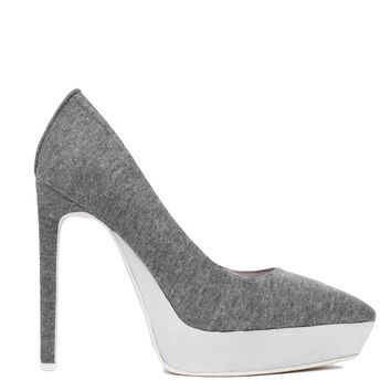 Jeffrey Campbell Tempest Pointed Platforms - Grey/White