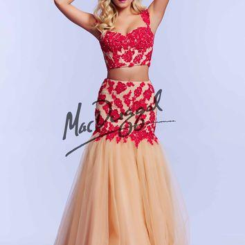 Mac Duggal 10053 Lace Crop Top Ball Gown