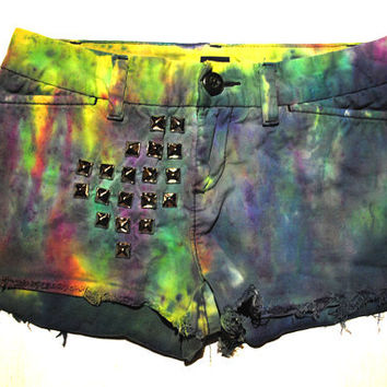 Tie Dye Grunge Indie Hipster Studded Shorts XS