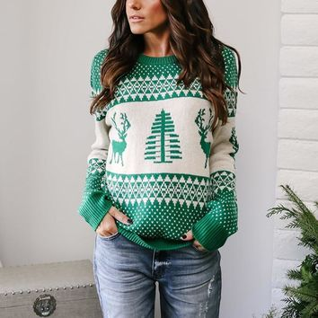 2018 Autumn Winter Sweater Women O Neck Long Sleeve Knitted Ladies Sweaters Printed Ugly Christmas Sweater Jumper Pull Femme