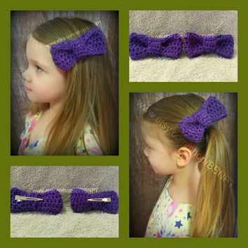 Purple Bow Barrettes (soft, clip, large, hair, sparkle)