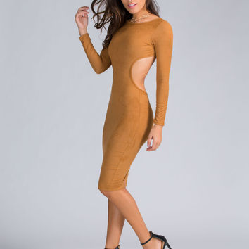 High Five Strappy Faux Suede Midi Dress