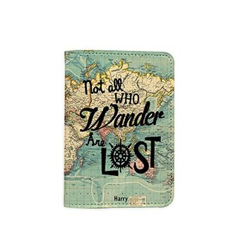 Not All Who Wander Are Lost World Map Travel Inspiration [Name customized] Leather Passport Holder - Leather Passport Cover - Travel Accessory- Travel Wallet for Women and Men_SCORPIOshop