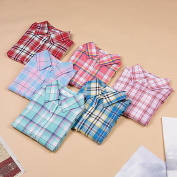 Hot Sale Fashion Women Blouses Long Sleeve Turn-down Collar Plaid Shirts Women Casual Cotton Shirt