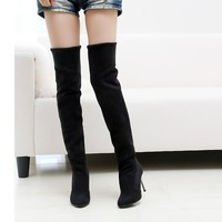Lotus Jolly Sexy Women Thigh High Boots Over The Knee Classic Ladies Fur Shoes Woman 7.5cm Thin Heels Mujer Zapatos Botte Femme