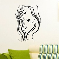 Wall Decal Vinyl Sticker Beauty Girl Hair Salon Spa Decor Sb488