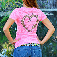 Fashionable neon pink heart antler burnout shirt