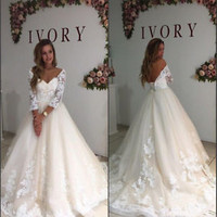 Illusion Neck 3/4 Sleeves Ivory Wedding Dresses with Lace Custom Size 2 4 6 8 10
